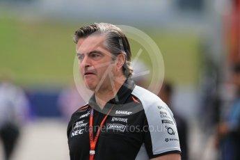 World © Octane Photographic Ltd. Sahara Force India Sporting director - Andy Stevenson. Thursday 30th June 2016, F1 Austrian GP Paddock, Red Bull Ring, Spielberg, Austria. Digital Ref : 1594CB1D1397