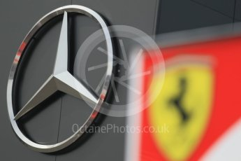 World © Octane Photographic Ltd. Mercedes logo with – Ferrari logo. Thursday 30th June 2016, F1 Austrian GP Paddock, Red Bull Ring, Spielberg, Austria. Digital Ref : 1594CB1D1404