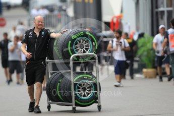 World © Octane Photographic Ltd. Mercedes AMG Petronas - Intermediate tyres. Thursday 30th June 2016, F1 Austrian GP Paddock, Red Bull Ring, Spielberg, Austria. Digital Ref :1594CB1D1693