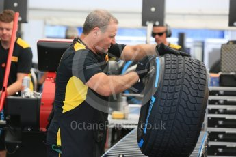 World © Octane Photographic Ltd. Pirelli fitting wet tyres. Thursday 30th June 2016, F1 Austrian GP Paddock, Red Bull Ring, Spielberg, Austria. Digital Ref :1594CB5D2504