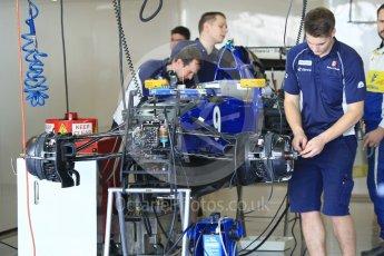 World © Octane Photographic Ltd. Sauber F1 Team C35 – Marcus Ericsson - under build. Thursday 24th November 2016, F1 Abu Dhabi GP - Pitlane, Yas Marina circuit, Abu Dhabi. Digital Ref :