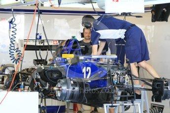 World © Octane Photographic Ltd. Sauber F1 Team C35 – Felipe Nasr - under build. Thursday 24th November 2016, F1 Abu Dhabi GP - Pitlane, Yas Marina circuit, Abu Dhabi. Digital Ref :