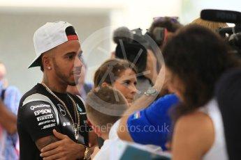 World © Octane Photographic Ltd. F1 Singapore GP paddock prior to the FIA Driver Press Conference part2, Yas Marina circuit, Abu Dhabi. Thursday 24th November 2016. Mercedes AMG Petronas – Lewis Hamilton. Digital Ref :
