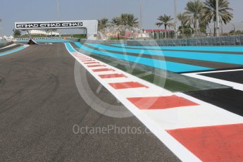 World © Octane Photographic Ltd. Turn 1 exit kerb. Thursday 24th November 2016, F1 Abu Dhabi GP - Track. Yas Marina circuit, Abu Dhabi. Digital Ref :