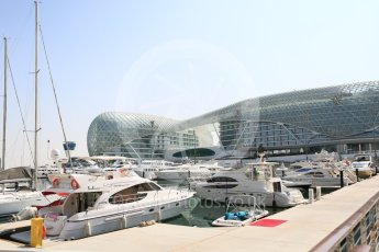 World © Octane Photographic Ltd. Yachts in the harbour. Thursday 24th November 2016, F1 Abu Dhabi GP - Paddock, Yas Marina circuit, Abu Dhabi. Digital Ref :