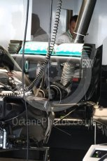 World © Octane Photographic Ltd. Mercedes AMG Petronas W07 Hybrid – Rear wing and suspension. Thursday 24th November 2016, F1 Abu Dhabi GP - Pitlane. Yas Marina circuit, Abu Dhabi. Digital Ref :
