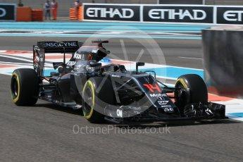 World © Octane Photographic Ltd. McLaren Honda MP4-31 – Fernando Alonso. Friday 25th November 2016, F1 Abu Dhabi GP - Practice 1, Yas Marina circuit, Abu Dhabi. Digital Ref :