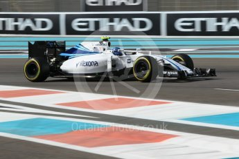 World © Octane Photographic Ltd. Williams Martini Racing, Williams Mercedes FW38 – Valtteri Bottas. Friday 25th November 2016, F1 Abu Dhabi GP - Practice 1, Yas Marina circuit, Abu Dhabi. Digital Ref :