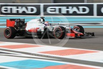 World © Octane Photographic Ltd. Haas F1 Team VF-16 – Romain Grosjean. Friday 25th November 2016, F1 Abu Dhabi GP - Practice 1, Yas Marina circuit, Abu Dhabi. Digital Ref :