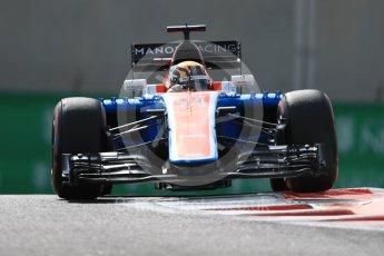 World © Octane Photographic Ltd. Manor Racing MRT05 - Pascal Wehrlein. Friday 25th November 2016, F1 Abu Dhabi GP - Practice 1, Yas Marina circuit, Abu Dhabi. Digital Ref : 1756LB1D8096
