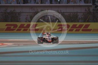 World © Octane Photographic Ltd. Haas F1 Team VF-16 – Romain Grosjean. Friday 25th November 2016, F1 Abu Dhabi GP - Practice 2, Yas Marina circuit, Abu Dhabi. Digital Ref :