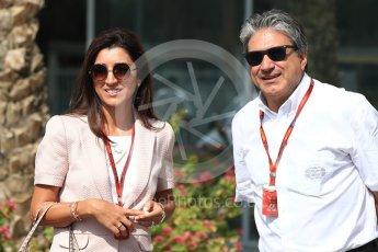 World © Octane Photographic Ltd. Bernie Ecclestone wife Fabiana Flosi. Saturday 26th November 2016, F1 Abu Dhabi GP - Paddock, Yas Marina circuit, Abu Dhabi. Digital Ref : 1764LB1D9518