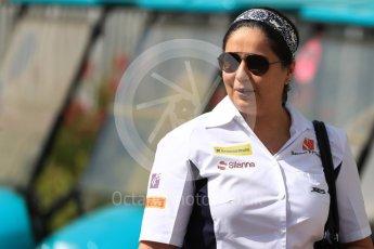 World © Octane Photographic Ltd. Sauber Team Chief - Monisha Kaltenborn. Saturday 26th November 2016, F1 Abu Dhabi GP - Paddock, Yas Marina circuit, Abu Dhabi. Digital Ref : 1764LB1D9607