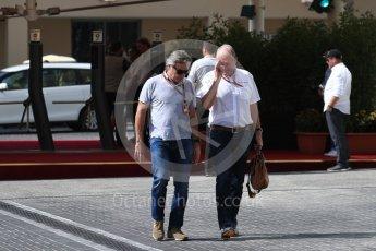 World © Octane Photographic Ltd. Helmut Marko - advisor to the Red Bull Racing and Carlos Sainz Sr. Saturday 26th November 2016, F1 Abu Dhabi GP - Paddock, Yas Marina circuit, Abu Dhabi. Digital Ref : 1764LB1D9641