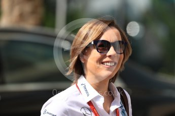 World © Octane Photographic Ltd. Claire Williams - deputy team principal of the Williams Formula One racing team. Saturday 26th November 2016, F1 Abu Dhabi GP - Paddock, Yas Marina circuit, Abu Dhabi. Digital Ref : 1764LB1D9679