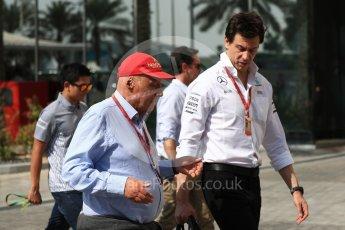 World © Octane Photographic Ltd. Toto Wolff - Executive Director of Mercedes AMG Petronas Formula One Team and Niki Lauda. Saturday 26th November 2016, F1 Abu Dhabi GP - Paddock, Yas Marina circuit, Abu Dhabi. Digital Ref : 1764LB1D9932