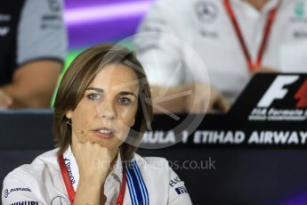 World © Octane Photographic Ltd. F1 GP FIA Personnel Press Conference, Yas Marina circuit, Abu Dhabi. Friday 25th November 2016. Claire Williams – Deputy Team Principal Williams Martini Racing,. Digital Ref :