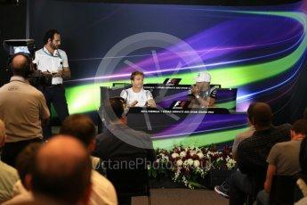 World © Octane Photographic Ltd. F1 FIA Driver Press Conference part2, Yas Marina circuit, Abu Dhabi. Thursday 24th November 2016. Mercedes AMG Petronas – Lewis Hamilton and Nico Rosberg . Digital Ref :