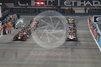 World © Octane Photographic Ltd. Grid formed ready for the green flag lap. Saturday 26th November 2016, GP2 Race 1, Yas Marina Circuit, Abu Dhabi. Digital Ref :