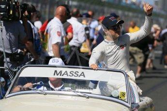 World © Octane Photographic Ltd. Williams Martini Racing – Felipe Massa. Sunday 20th March 2016, F1 Australian GP - Drivers Parade, Melbourne, Albert Park, Australia. Digital Ref : 1523LB1D6525