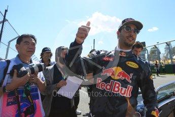 World © Octane Photographic Ltd. Red Bull Racing – Daniel Ricciardo. Sunday 20th March 2016, F1 Australian GP - Drivers Parade, Melbourne, Albert Park, Australia. Digital Ref : 1523LB5D2041