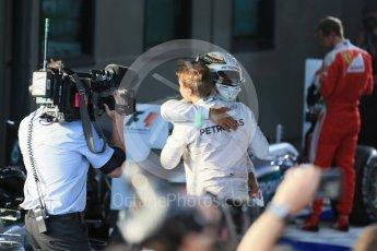 World © Octane Photographic Ltd. Mercedes AMG Petronas – Lewis Hamilton and Nico Rosberg. Sunday 20th March 2016, F1 Australian GP Race – Parc Ferme, Melbourne, Albert Park, Australia. Digital Ref : 1525LB1D7483