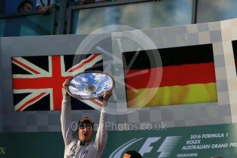 World © Octane Photographic Ltd. Mercedes AMG Petronas – Nico Rosberg. Sunday 20th March 2016, F1 Australian GP Race - Podium, Melbourne, Albert Park, Australia. Digital Ref : 1525LB1D7825