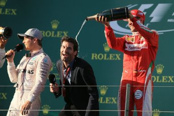 World © Octane Photographic Ltd. Scuderia Ferrari – Sebastian Vettel and Mark Webber. Sunday 20th March 2016, F1 Australian GP Race - Podium, Melbourne, Albert Park, Australia. Digital Ref : 1525LB1D8184
