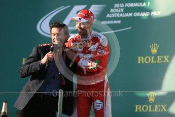 World © Octane Photographic Ltd. Scuderia Ferrari – Sebastian Vettel and Mark Webber. Sunday 20th March 2016, F1 Australian GP Race - Podium, Melbourne, Albert Park, Australia. Digital Ref : 1525LB1D8229
