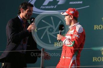 World © Octane Photographic Ltd. Scuderia Ferrari – Sebastian Vettel and Mark Webber. Sunday 20th March 2016, F1 Australian GP Race - Podium, Melbourne, Albert Park, Australia. Digital Ref : 1525LB1D8320