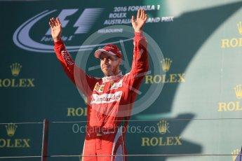 World © Octane Photographic Ltd. Scuderia Ferrari – Sebastian Vettel. Sunday 20th March 2016, F1 Australian GP Race - Podium, Melbourne, Albert Park, Australia. Digital Ref : 1525LB1D8434
