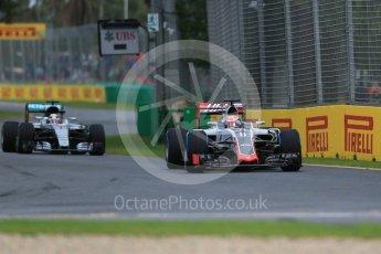 World © Octane Photographic Ltd. Haas F1 Team VF-16 – Romain Grosjean. Friday 18th March 2016, F1 Australian GP Practice 1, Melbourne, Albert Park, Australia. Digital Ref : 1516LB1D2110