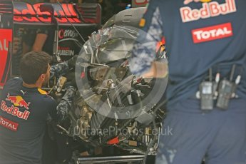 World © Octane Photographic Ltd. Red Bull Racing RB12 – Max Verstappen's car in rebuild. Friday 1st July 2016, F1 Austrian GP Practice 1, Red Bull Ring, Spielberg, Austria. Digital Ref : 1598CB5D2833