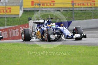 World © Octane Photographic Ltd. Sauber F1 Team C35 – Marcus Ericsson. Friday 1st July 2016, F1 Austrian GP Practice 2, Red Bull Ring, Spielberg, Austria. Digital Ref : 1600CB1D2337