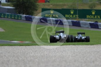 World © Octane Photographic Ltd. Mercedes AMG Petronas W07 Hybrid – Lewis Hamilton and Nico Rosberg. Friday 1st July 2016, F1 Austrian GP Practice 2, Red Bull Ring, Spielberg, Austria. Digital Ref : 1600LB1D6662
