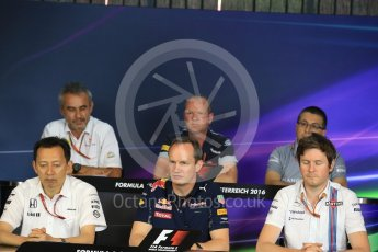 World © Octane Photographic Ltd. F1 Austrian GP FIA Personnel Press Conference, Red Bull Ring, Spielberg, Austria. Friday 1st July 2016. Luca Furbatto - Manor Racing Chielf Designer, Yusuke Hasegawa – Honda Head of Formula 1Project, Paul Monaghan – Red Bull Racing Chief Engineer (Car Engineering), Rob Smedley - Williams Martini Racing Head of Vehicle Performance, Graham Watson - Scuderia Toro Rosso Team Manager and Beat Zehnder – Sauber F1 Team, Team Manager. Digital Ref :1602LB1D5646