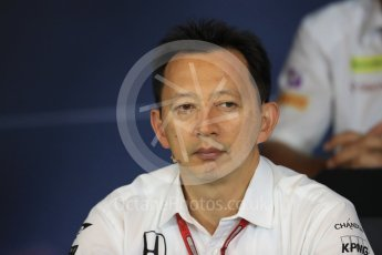 World © Octane Photographic Ltd. F1 Austrian GP FIA Personnel Press Conference, Red Bull Ring, Spielberg, Austria. Friday 1st July 2016. Yusuke Hasegawa – Honda Head of Formula 1Project. Digital Ref :1602LB1D6736