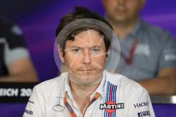 World © Octane Photographic Ltd. F1 Austrian GP FIA Personnel Press Conference, Red Bull Ring, Spielberg, Austria. Friday 1st July 2016. Rob Smedley - Williams Martini Racing Head of Vehicle Performance. Digital Ref :1602LB1D6740