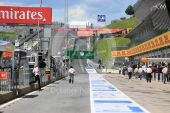 World © Octane Photographic Ltd. The pitlane before setup. Friday 1st July 2016, GP2 Practice, Red Bull Ring, Spielberg, Austria. Digital Ref : 1599CB5D2885