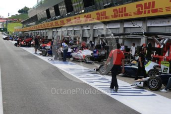 World © Octane Photographic Ltd. Pitlane before the session starts. Friday 1st July 2016, GP3 Practice, Red Bull Ring, Spielberg, Austria. Digital Ref : 1603LB1D5778