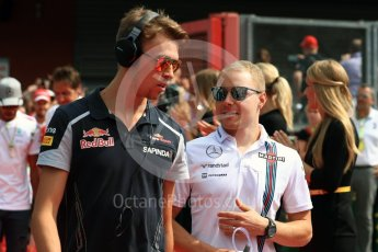 World © Octane Photographic Ltd. Scuderia Toro Rosso STR11 – Daniil Kyat and Williams Martini Racing, Williams Mercedes FW38 – Valtteri Bottas. Sunday 28th August 2016, F1 Belgian GP Driver Parade, Spa-Francorchamps, Belgium. Digital Ref : 1691LB1D2050