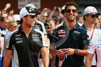 World © Octane Photographic Ltd. Sahara Force India VJM09 - Sergio Perez and Red Bull Racing RB12 – Daniel Ricciardo. Sunday 28th August 2016, F1 Belgian GP Driver Parade, Spa-Francorchamps, Belgium. Digital Ref : 1691LB1D2098