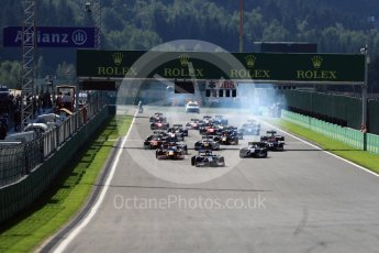 World © Octane Photographic Ltd. Rapax - GP2/11 – Gustav Malja leads the race start. Sunday 28th August 2016, GP2 Race 2, Spa-Francorchamps, Belgium. Digital Ref : 1690LB1D1762