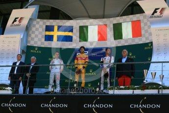 World © Octane Photographic Ltd. Prema Racing - GP2/11 – Antonia Giovinazzi, Rapax - GP2/11 – Gustav Malja and Trident - GP2/11 – Luca Ghiotto. Sunday 28th August 2016, GP2 Race 2, Spa-Francorchamps, Belgium. Digital Ref : 1690LB2D4565