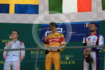 World © Octane Photographic Ltd. Prema Racing - GP2/11 – Antonia Giovinazzi, Rapax - GP2/11 – Gustav Malja and Trident - GP2/11 – Luca Ghiotto. Sunday 28th August 2016, GP2 Race 2, Spa-Francorchamps, Belgium. Digital Ref : 1690LB2D4582