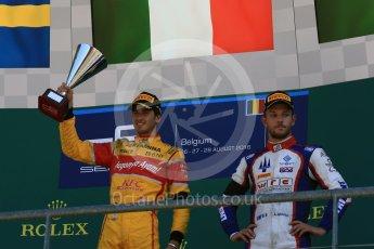 World © Octane Photographic Ltd. Rapax - GP2/11 – Gustav Malja and Trident - GP2/11 – Luca Ghiotto. Sunday 28th August 2016, GP2 Race 2, Spa-Francorchamps, Belgium. Digital Ref : 1690LB2D4603