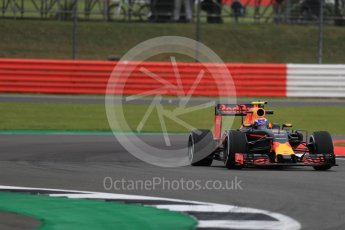 World © Octane Photographic Ltd. Red Bull Racing RB12 – Max Verstappen. Friday 8th July 2016, F1 British GP Practice 1, Silverstone, UK. Digital Ref : 1619LB1D0751