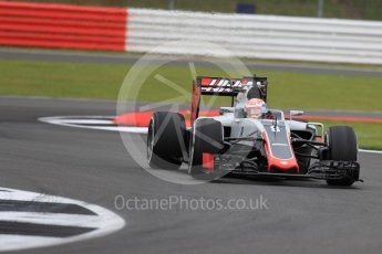 World © Octane Photographic Ltd. Haas F1 Team VF-16 – Romain Grosjean. Friday 8th July 2016, F1 British GP Practice 1, Silverstone, UK. Digital Ref : 1619LB1D0903