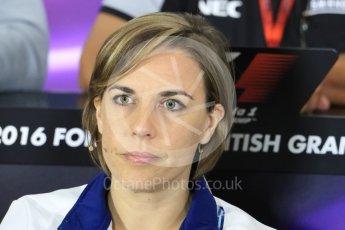 World © Octane Photographic Ltd. F1 British GP FIA Personnel Press Conference, Silverstone, UK. Friday 8th July 2016. Claire Williams - Williams Martini Racing Deputy Team Principal. Digital Ref : 1624LB1D2615