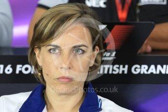 World © Octane Photographic Ltd. F1 British GP FIA Personnel Press Conference, Silverstone, UK. Friday 8th July 2016. Claire Williams - Williams Martini Racing Deputy Team Principal. Digital Ref : 1624LB1D2619